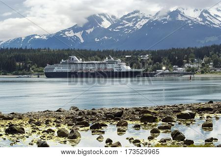 Cruise ship docked at the port of Haines Alaska