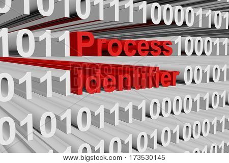 process identifier in the form of binary code, 3D illustration