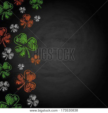 Saint Patricks Day Shamrock On Chalkboard Background
