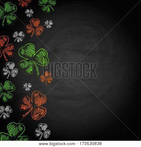 Saint Patricks Day Shamrock On Chalkboard Background