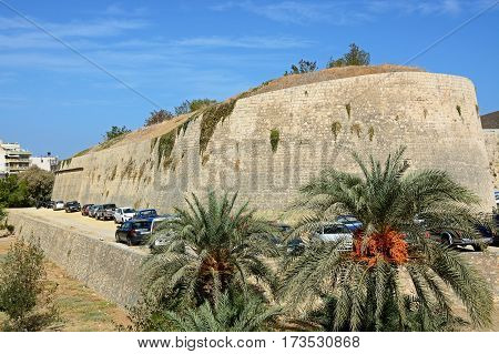 HERAKLION, CRETE - SEPTEMBER 19, 2016 - View of Bethlehem bastion which is part of the city defence wall Heraklion Crete Greece Europe, September 19, 2016.