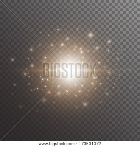 Bright background with christmas lights. Glitter sparkle on a transparent backdrop.