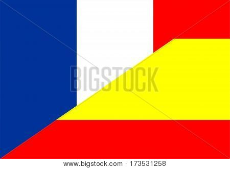 france spain neighbour countries half flag symbol