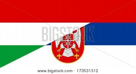hungary serbia neighbour countries half flag symbol