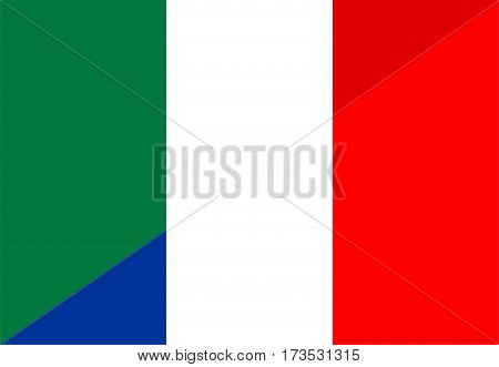 italy france neighbour countries half flag symbol