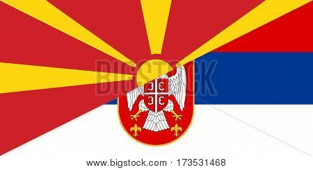 macedonia serbia neighbour countries half flag symbol
