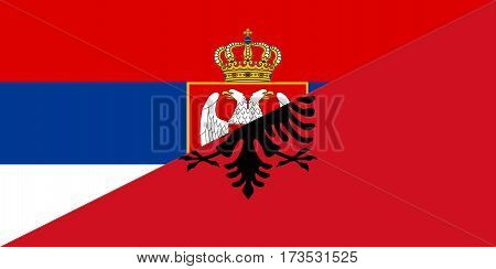 serbia albania neighbour countries half flag symbol
