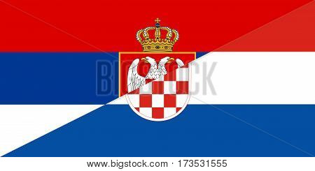 serbia croatia neighbour countries half flag symbol