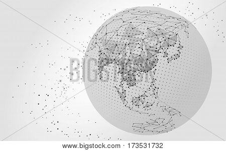 World map point, line, composition, representing the global, Global network connection, international meaning. vector illustration China, India Japan black white