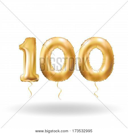 Golden number hundred metallic balloon. Party decoration golden balloons. Anniversary sign for happy holiday, celebration, birthday, carnival, new year. Metallic design balloon.