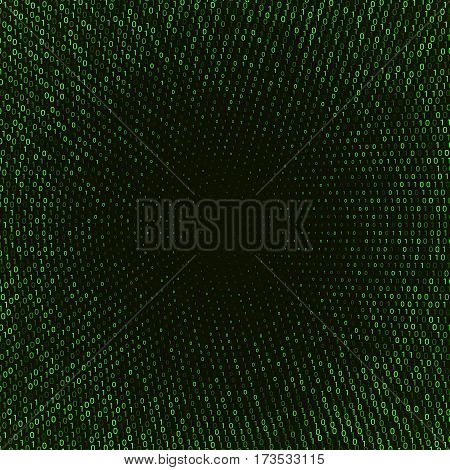 Vector abstract background with numbers one and zero on a dark background. Suitable for web backgrounds, wallpaper and presentations.