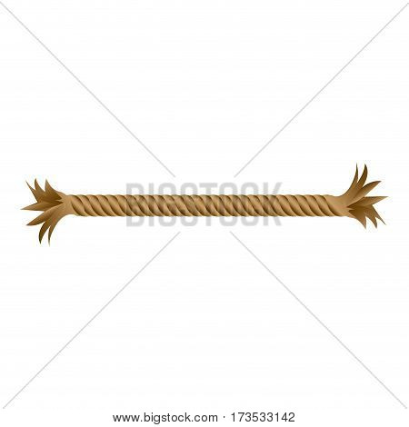 closeup broken Frayed rope piece icon vector illustration