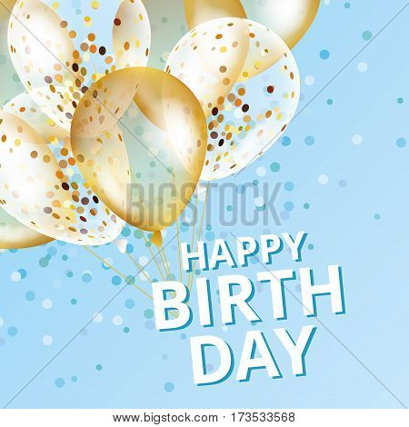 Balloons happy birthday on black. Gold and blue balloon sparkles holiday background. Happy Birthday to you logo, card, banner, web, design. Happy Birthday and new year card. Gold white transparent balloon background