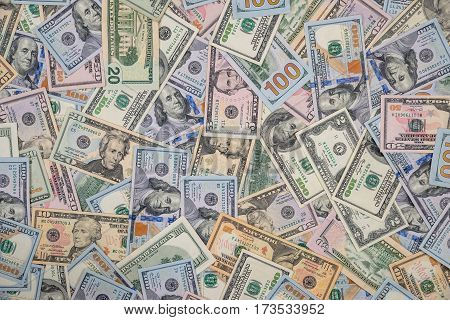 Pile Of One Hundred,fifty And Twenty Dollar Bills