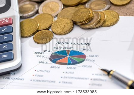 Business Financial Reports With Euros Bills, Coin And Calculator.