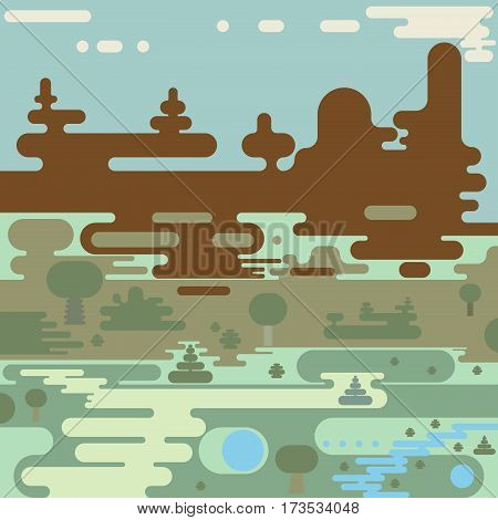 flat vector rounded landscape design of paths on field meadow and forest near river and lakes in hills to mountains