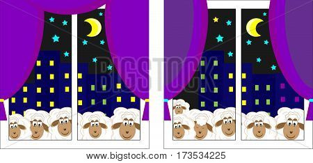 children's game a puzzle find ten differences vector illustration