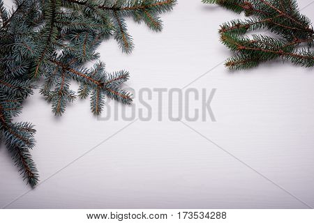Christmas Wooden Background With Snow Fir Tree. Top View With Co