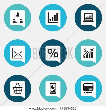 Set Of 9 Editable Analytics Icons. Includes Symbols Such As Statistic, Transmission, Trading Purse And More. Can Be Used For Web, Mobile, UI And Infographic Design.