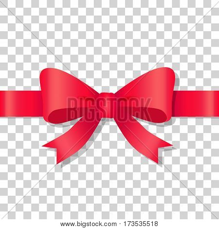 Red bow icon on transparent background. Holiday bow with ribbon on transparency. Gift knot of ribbon in flat design. Overwhelming bow decorative element. Vector cartoon illustration. Classical bow