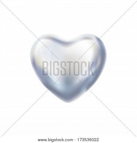 Heart Silver balloon on background. Frosted party balloons event design. Balloons isolated in the air. Party decorations for wedding, birthday, celebration, love, valentines. Shine transparent balloon