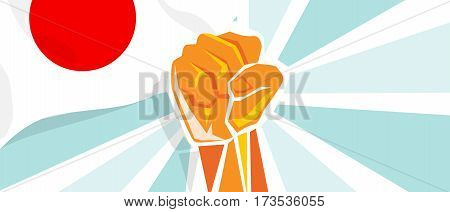Japan fight and protest independence struggle rebellion show symbolic strength with hand fist illustration and flag vector