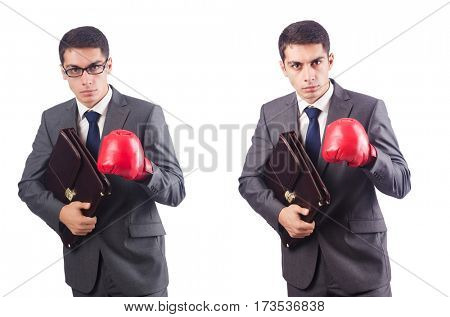 Young businessman with briefcase and box gloves  isolated on whi