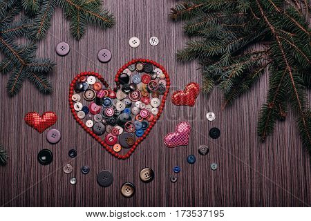 Heart For Valentines ..composed Of Buttons On Dark Board