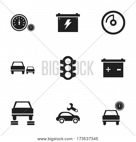 Set Of 9 Editable Traffic Icons. Includes Symbols Such As Speedometer, Automotive Fix, Battery And More. Can Be Used For Web, Mobile, UI And Infographic Design.