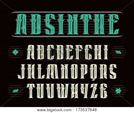 Vintage serif font with decoration. Design for labels of alcoholic drinks - absinthe whiskey gin rum bourbon scotch craft beer