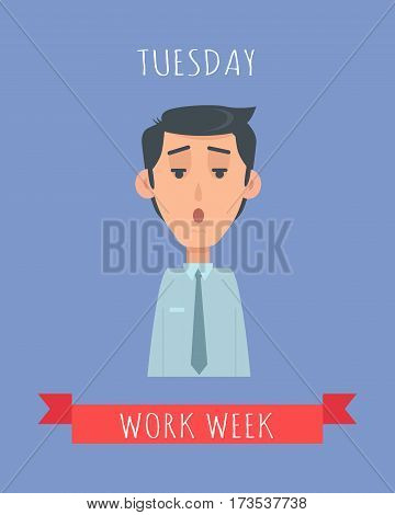 Work week emotive concept. Perplexed brunet man in shirt and tie flat vector illustration. Tuesday confused mood. Office worker weekly calendar. Employee business efficiency. Everyday work routine
