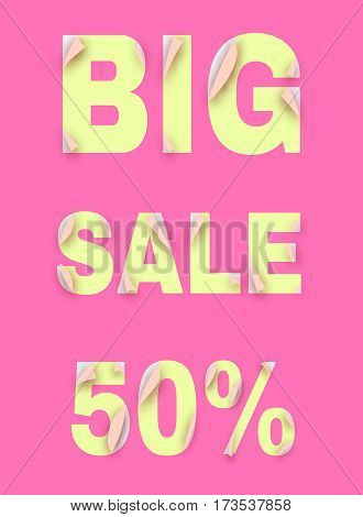 Big sale banner. Unstick letters. Template design. Vector Illustration