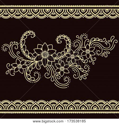 Set of seamless borders for design and application of henna. Bracelet for tattoo or henna pattern. Mehndi style. Decorative pattern in oriental style.