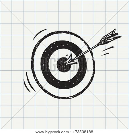 Arrow hit in archery target (goal symbol) icon sketch in vector. Accuracy concept. Hand drawn doodle sign poster