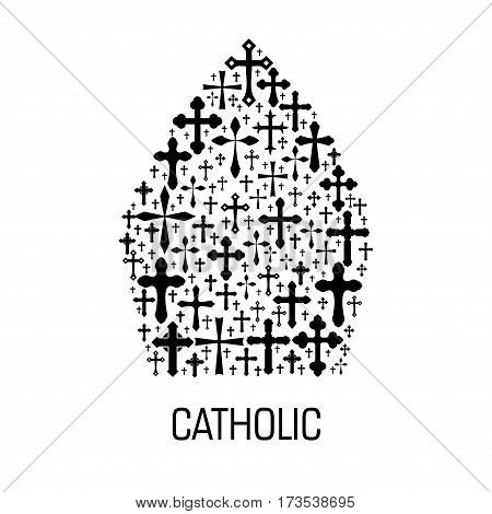 Catholic religious emblem. Vector icon of Vatican pope mitre hat made of christianity crucifix cross pattern. Catholicism label for catholic religious decoration design element