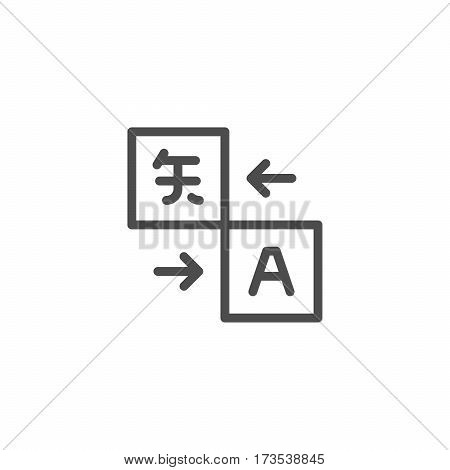 Translation service line icon isolated on white. Vector illustration