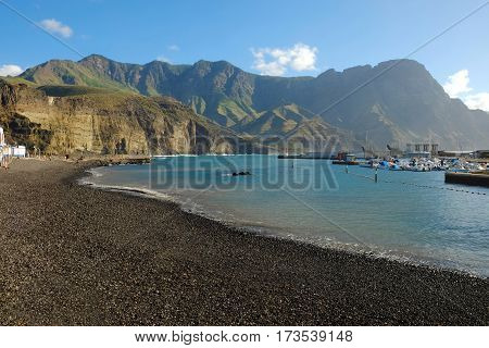 View on the beach Playa De Agaete in Puerto De Las Nieves on the Canary Island Gran Canaria Spain.