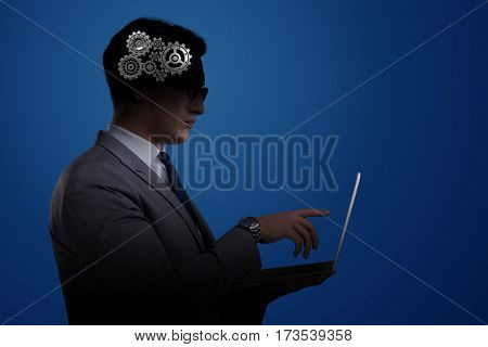 Artificial intelligence concept with man and laptop