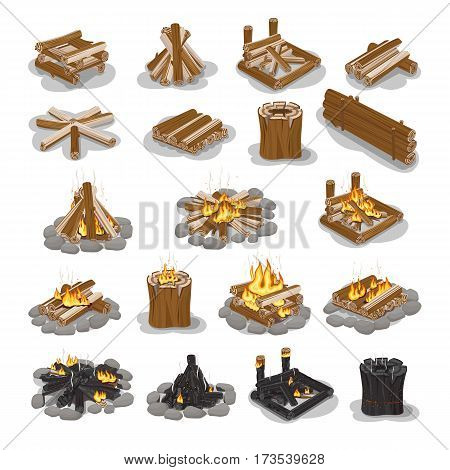 Campfire and firewood set isolated on white. Stages of making burning fire. Bonfire collection camping, burning woodpile campfire fireplace concept. Tourist firewoods vector illustrationin flat style