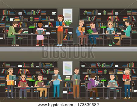 People study in atheneum set. Students read in the library vector illustration. Clever men and women read books. Grown ups self education. Public room with bookshelves. Shelves and tables. Wisdom