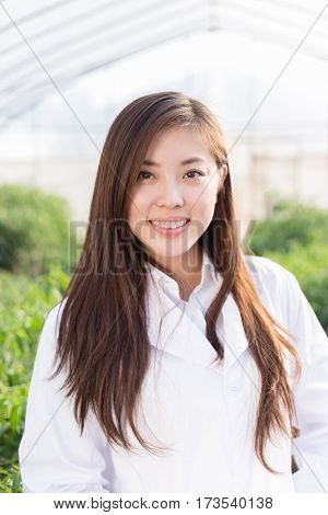 young pretty chinese woman agronomist working in green house