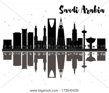 Saudi Arabia skyline black and white silhouette with reflections. Simple flat concept for tourism presentation, banner, placard or web site. Cityscape with landmarks