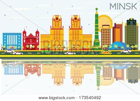 Minsk Skyline with Color Buildings, Blue Sky and Reflections. Business Travel and Tourism Concept. Image for Presentation Banner Placard and Web Site.