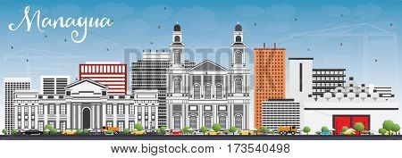 Managua Skyline with Gray Buildings and Blue Sky. Business Travel and Tourism Concept with Modern Architecture. Image for Presentation Banner Placard and Web Site.