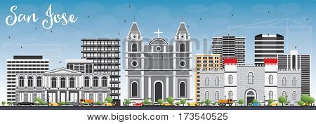 San Jose Skyline with Gray Buildings and Blue Sky. Business Travel and Tourism Concept with Modern Architecture. Image for Presentation Banner Placard and Web Site.