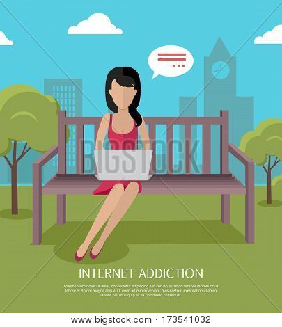 Internet addiction banner. Woman whis laptop sitting on wooden bench in the park. Woman with dialog window. Woman using laptop. Urban cityscape with woman, park, bench, trees, blue sky and clouds.