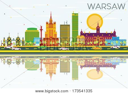 Warsaw Skyline with Color Buildings, Blue Sky and Reflections. Business Travel and Tourism Concept with Historic Architecture. Image for Presentation Banner Placard and Web Site.