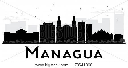 Managua City skyline black and white silhouette. Simple flat concept for tourism presentation, banner, placard or web site. Cityscape with landmarks