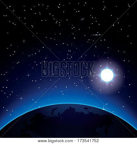 Earth with Stars and Sun. Space.