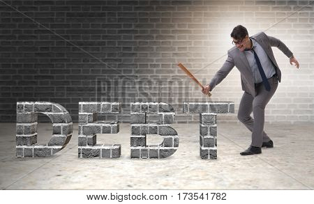 Angry man with baseball bat debt burden